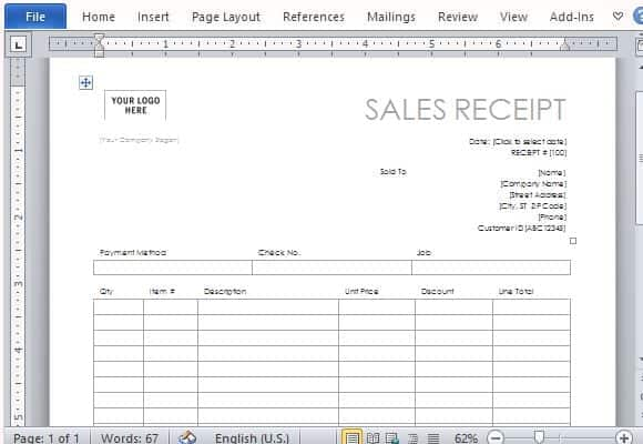 sales receipts templates