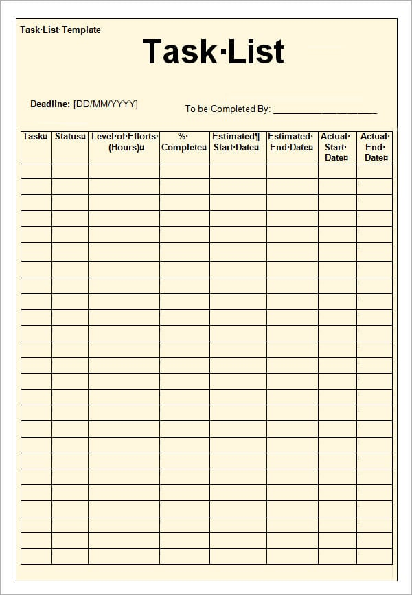 Task List Template Todo Lists To Do List Printable To Do List