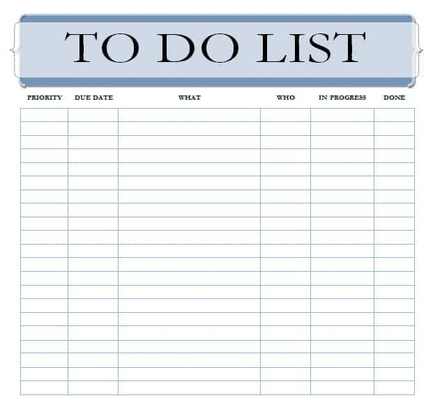 8 To Do List Templates Word Excel PDF Formats – To Do List Template Word