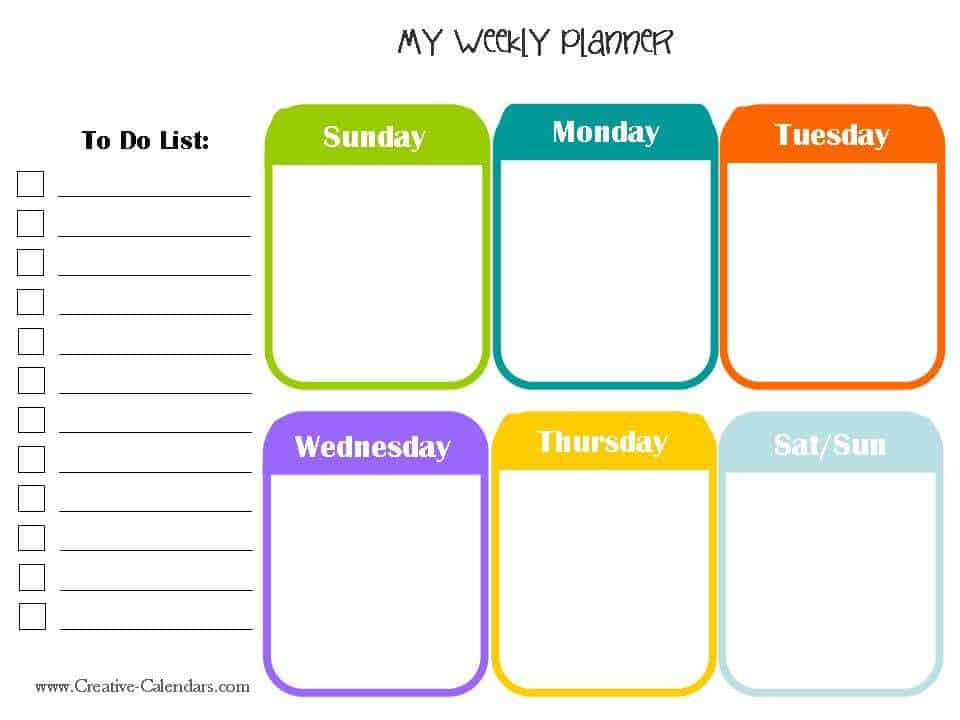 Weekly Planner Templates  Word Excel Pdf Formats