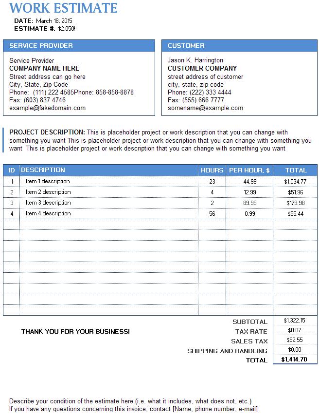 Work Estimate Templates Word Excel PDF Formats - It estimate template