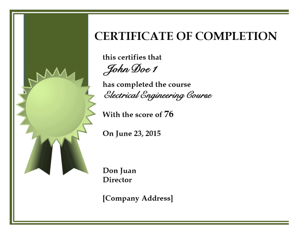 10+ Certificate Of Completion Templates  Certificate Of Completion Template Word