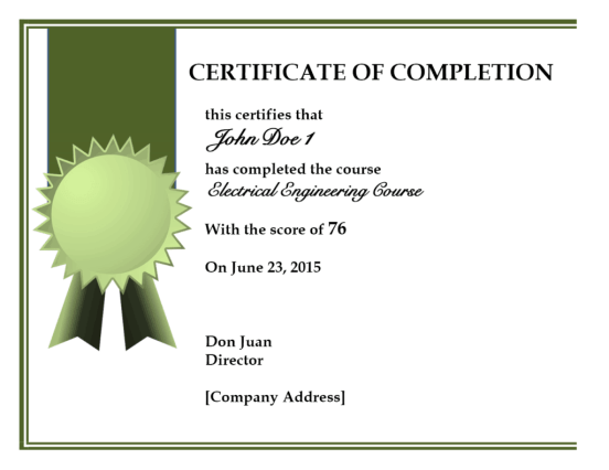 certificate of completion template 656541