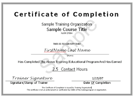 samples of certificates of completion