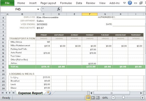 Expense Report Templates  Word Excel Pdf Formats
