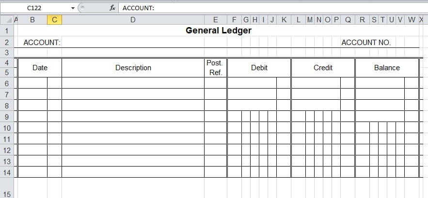 Account Ledger Template. Onlinetemplates Free General Ledger ...