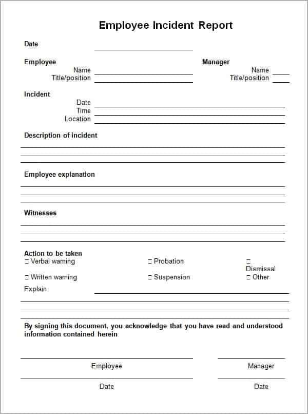incident report template 85474
