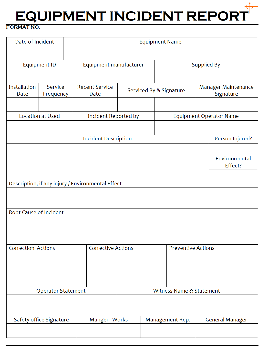 incident report form template excel