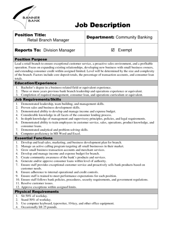 9 job description templates word excel pdf formats for Template for job description in word