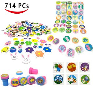 Easter Crafts Assortment Kit with 500 Easter Stickers, 172 Easter Shapes Adhesive, 36 Easter Theme Temporary Tattoos and 6 Easter Stampers