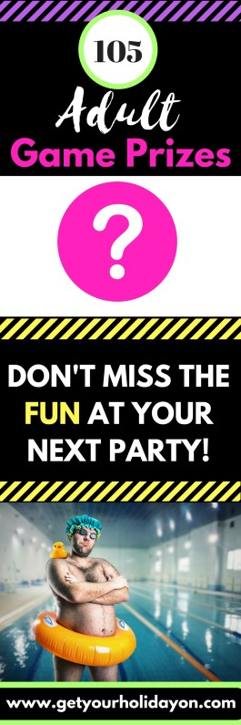 Searching for Adult Fun Game Prize ideas for your next party or get together? Check out these 105 prizes for the best adult party. It could be a bachelorette party, birthday party, Christmas party, or other adult celebration.