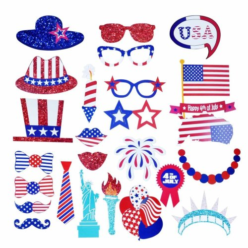 Can you imagine Grandma with the Blue flowered hat making a selfie? Or Jack taking a Snapchat Selfie with the patriotic lips. All while having a ton of fun with these photo props.