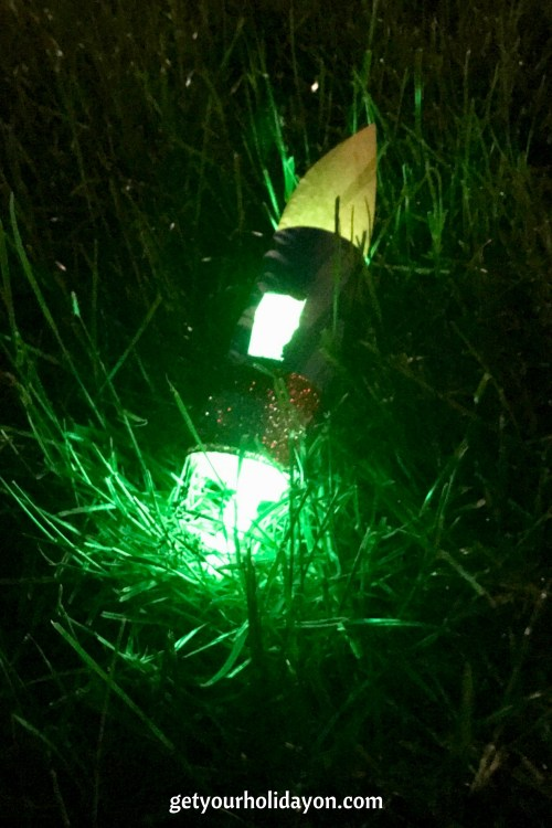 When the glow sticks are added these light up really well at night. Perfect idea for planning a fun game activity for the 4th of July or a birthday party for toddlers, children, and teens.