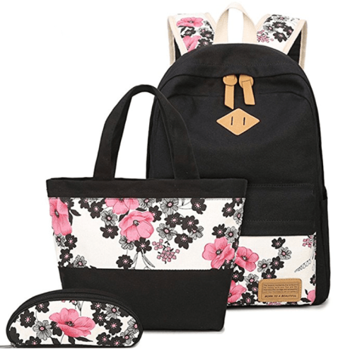 Teens Canvas Backpack Set Girls School Bags