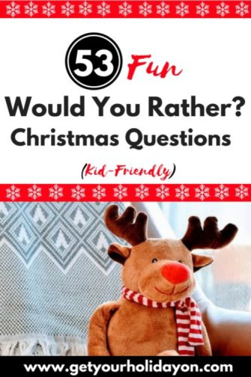 """Are you ready for some laughs? Looking for a kid-friendly holiday game idea? This """"Would You Rather"""" Christmas edition that is suited for the whole family is a free and fun game to use for a family fun night, a holiday get together, or a Christmas party.Laugh until you cry, bond, and create special memories with these free and fun fresh ideas from Get Your Holiday On."""