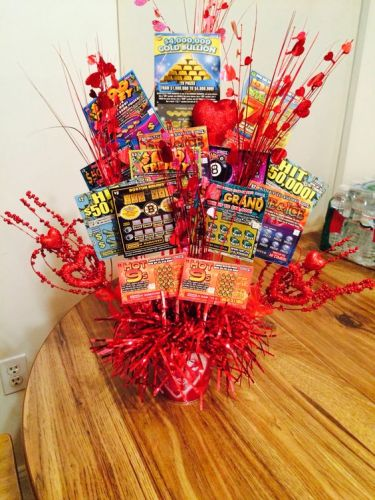 How cute is this Valentine's Day gift basket idea? A lottery basket may be just what your husband is calling for!