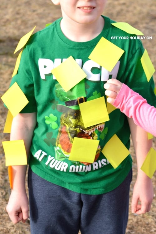 Today is a special day in history because the Post a Leprechaun game was born, lol. If you want to embark on a super EASY game idea that will literally cost a $1. You are in for a treat!  #postitnotes #shamrock #lplay #minutetowinit