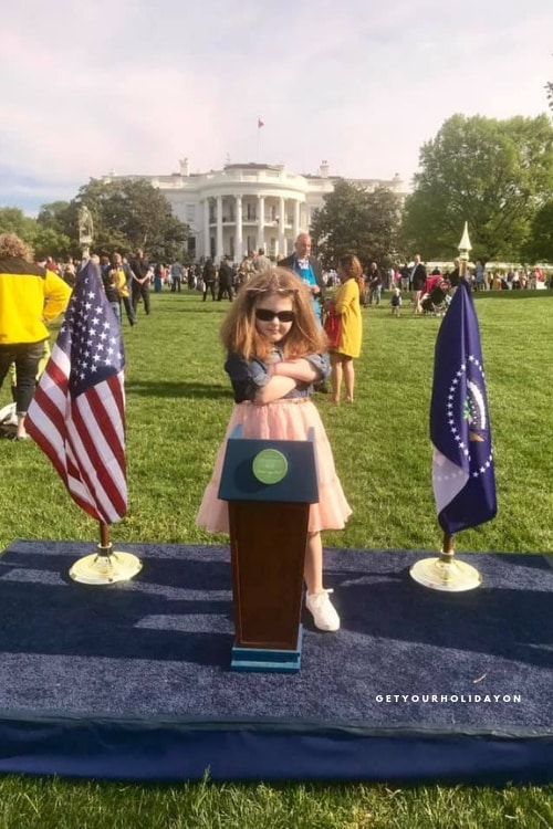 Bring sunglasses with you and have your child cross their arms at the podium photo op! I took one with my daughter smiling and then also one with a fun twist. Doesn't she look like part of the secret service or the future president of the United States?!