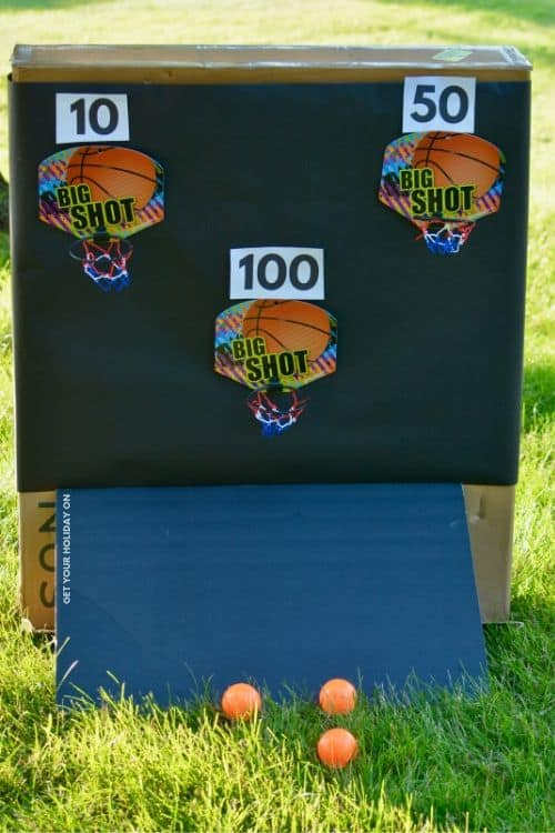 Step by Step instructions on creating a DIY basketball game for the backyard. #birthdayparty #motherhood #sports #party