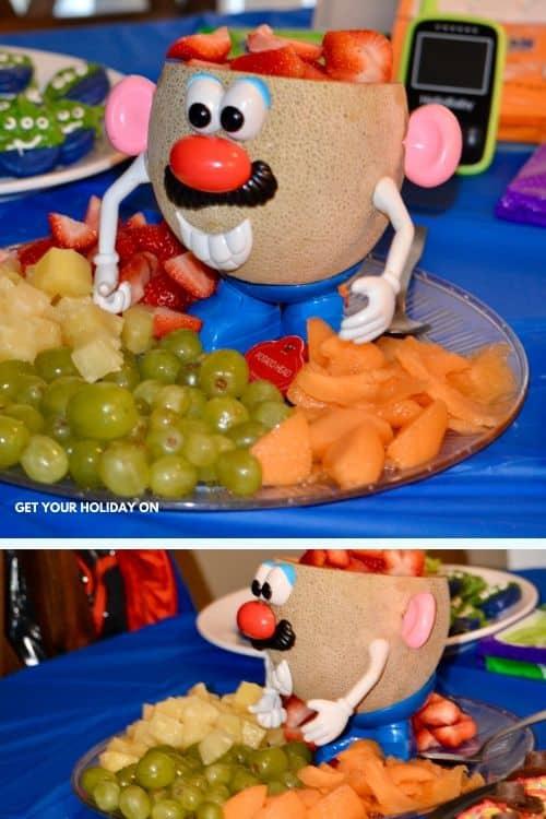 Fresh fruit DIY themed fruit tray for a birthday party! #toystory #sheriffwoody #buzzlightyear