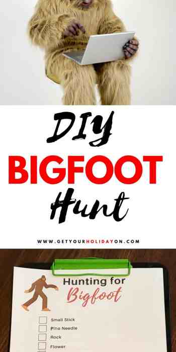 DIY Bigfoot Hunt for outdoor activities with kids. #outdoor #camping #freeprintable #kids