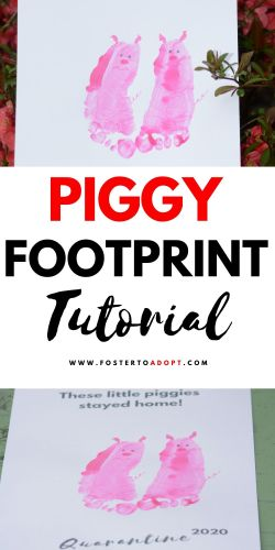 Craft tutorial for three little piggy footprints craft idea for stay at home projects. #craft #pigs #footprints #diys