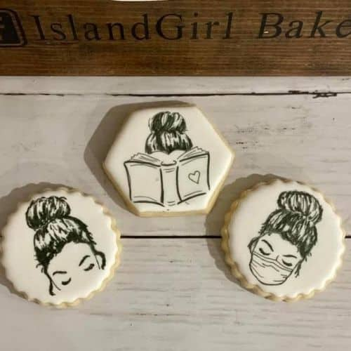 women with mask personalized cookies
