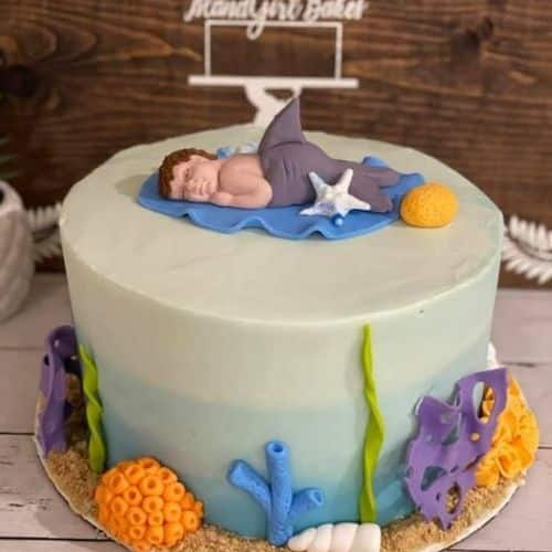 Little mermaid cake personalized with baby