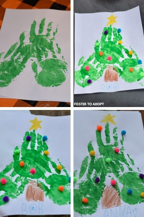 Finger print Christmas tree with decorations.
