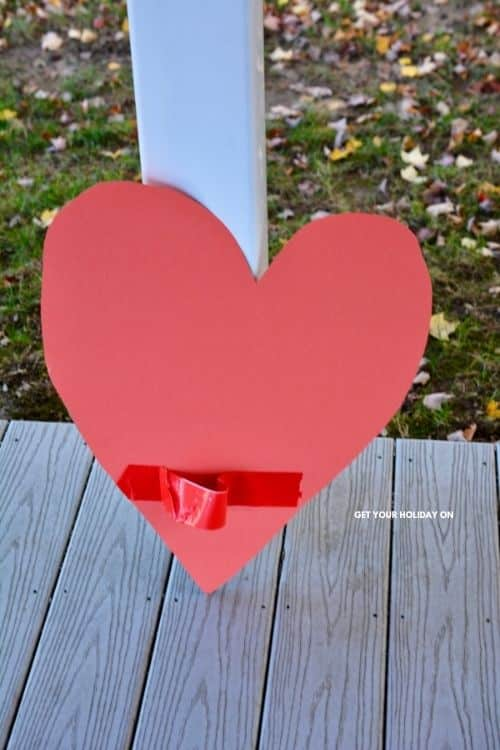 heart made out of cardboard and pasteboard with duct tape on it.