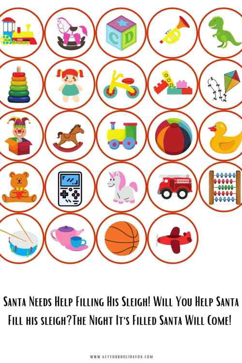 Free printable toys to add to Santa's sleigh print to help his sleigh fly and give children all over the world toys.