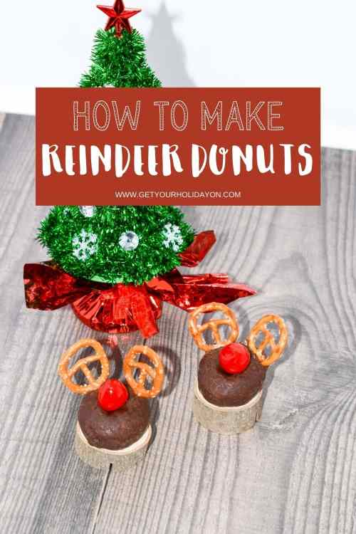 Circle mini donuts with reindeer ears and red nose.