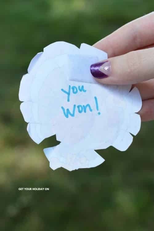 YOU WON written on the back of the turkey chase game!