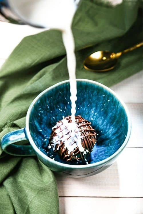 only 3 ingredients needed for this vegan hot chocolate bomb.