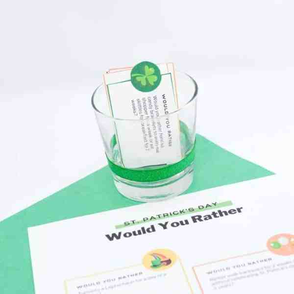 printable questions for the st Patricks day party ideas to answer would you rather questions.