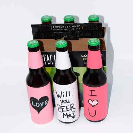 Learn how to make Valentine's Day beer. Beer turned into a diy beer gift with a personalized theme.