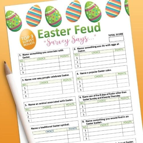 Printable Easter games like Family Feud is perfect for Adults.