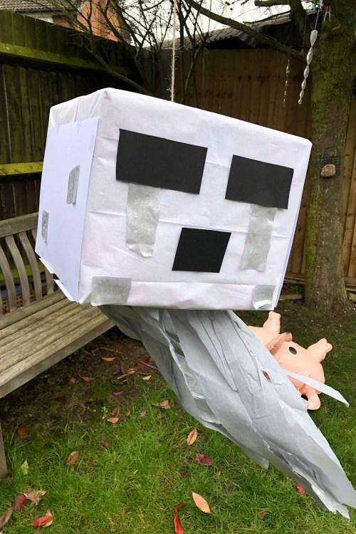 DIY GHAST Piñata FOR A MINECRAFT BIRTHDAY PARTY.