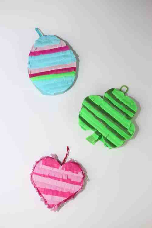 The best ways to make an Easter egg piñata, Shamrock pinata and a mini heart.
