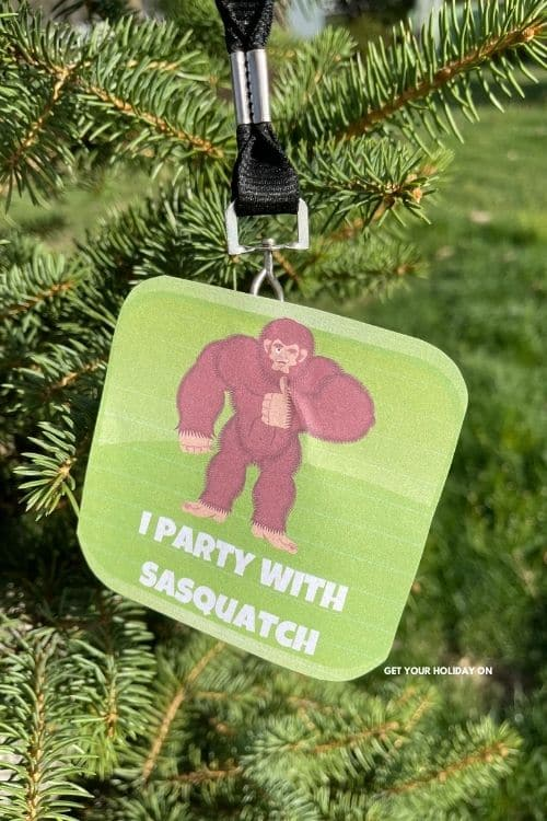 I party with sasquatch free printable for button or necklace.