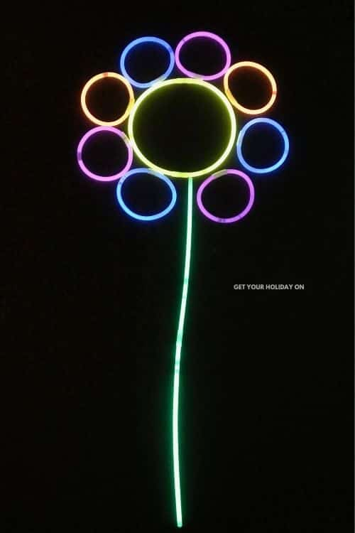 An example of the flower we made out of necklaces and bracelets that glow.