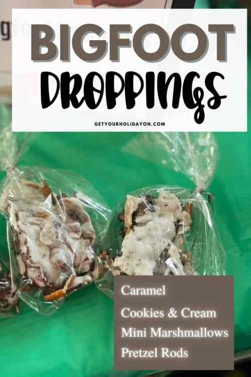 Bigfoot droppings includes caramel, cookies & cream, mini marshmallows, and Pretzel rods.