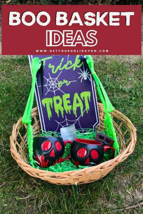 Adult Halloween Boo Basket ideas with trick or treat sign and Poison Apple Coffee Mugs!
