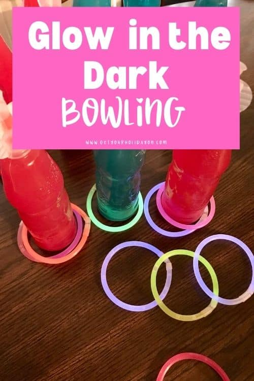 Glow in the dark bowling game and craft for kids.
