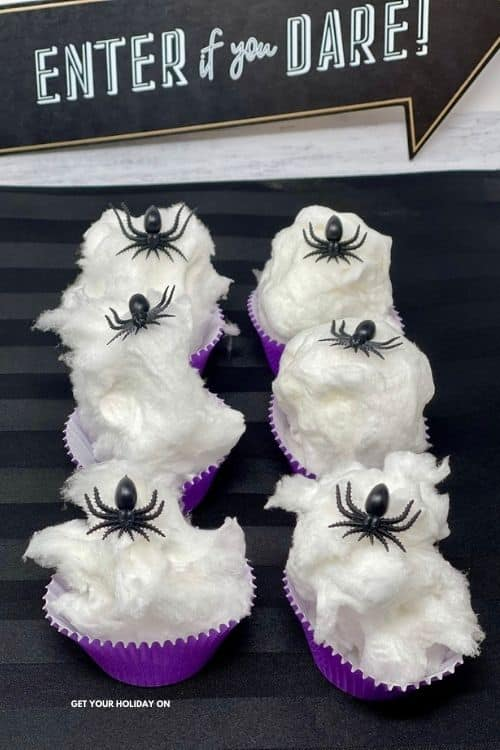 This spider web cotton candy is so fun for a Halloween party!