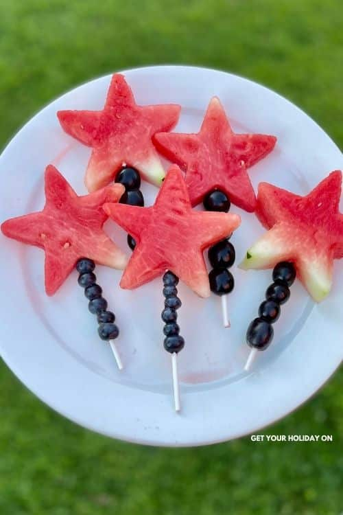 Summer fruit pops made out of watermelon star wand.