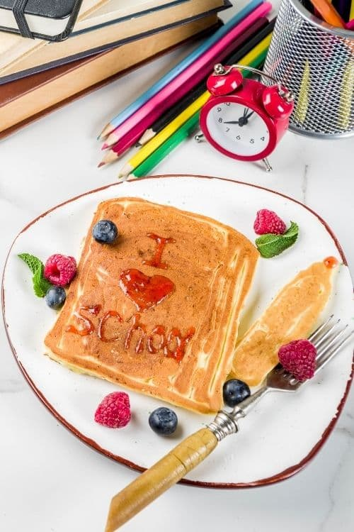 I love school with syrup on pancakes. Great for Back to School Traditions for the First Day!