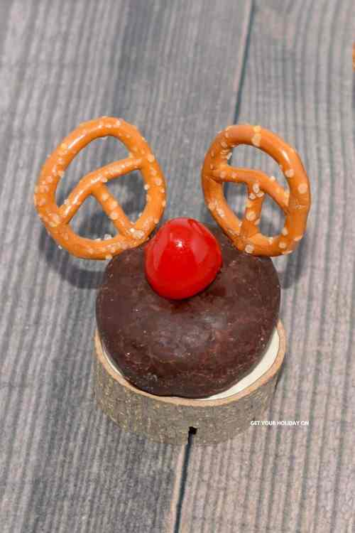 The best Santa donut is this Rudolph donut from get your holiday on.
