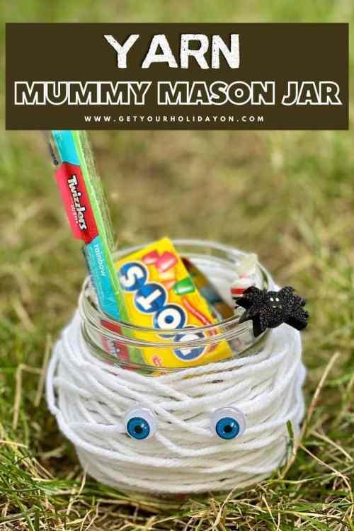 Yarn mummy mason jar.