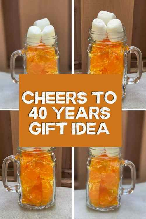 Cheers to 40 years gift idea, gift tag, and free printable! Celebrate cheers and beers party ideas.